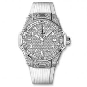 Big Bang One Click Steel White Full Pavé 39mm