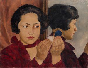 Russisches Mädchen mit Puderdose. 1928