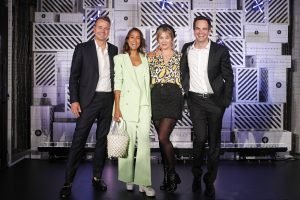"FRANKFURT AM MAIN, GERMANY - AUGUST 29: Marian Schikora, Rabea Schif, Laura Osswald and Daniel Schustermann attend the ""BestSecret"" store opening on August 29, 2019 in Frankfurt am Main, Germany. (Photo by Franziska Krug/Getty Images for BestSecret)"