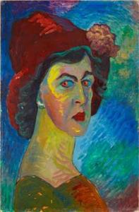 Марианна Верёвкина, автопортрет, 1910г., Городская галерея в доме Ленбаха в Мюнхене, фото: Симона Ганшаймер, Эрнст Янк